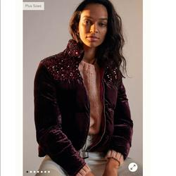 Anthropologie Jackets & Coats   Anthropologie Sequined Velvet Puffer Jacket ( Xs )   Color: Purple   Size: Xs