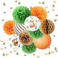NICROLANDEE Birthday Party Decorations - 12PCS Forest Animal Friends Tissue Pom Poms Paper Lantern Confetti 50G for Woodland Baby Shower, Gender Neutral Forest Decor, Jungle Animal Party Supplies