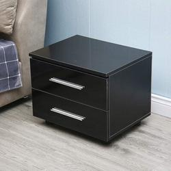 Ebern Designs Nightstand Table w/ 2 Drawers & Multicolor LED Backlight in Black/Brown, Size 21.0 H x 14.0 W x 19.0 D in | Wayfair
