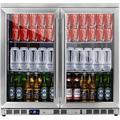 "KingsBottle KBU56M 36"" Stainless Steel Undercounter Beverage Center with 7.42 cu. ft. Capacity Heated Glass Door 2 Chromed Shelves"