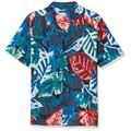 Perry Ellis Men's Tropical Print Camp Collar Short Sleeve Button-Down Shirt, Dark Sapphire, Medium