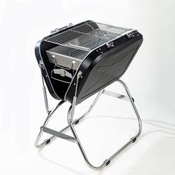 outFULL Foldable Portable Suitcase Shape Outdoor Stainless Steel Barbecue Grill Household Charcoal Barbecue Rack Porcelain-Coated Grates/Stainless Steel