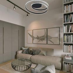 "Ivy Bronx Destin 1-Lihgt 23.64"" LED Flush Mount Acrylic in Black/White, Size 4.73 H x 23.64 W x 23.64 D in   Wayfair"