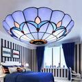 Alcott Hill® Flush Mount Ceiling Light Stained Glass Lamp Shade Bedroom Fixture Glass Shade Lighting FixtureGlass in Black/Brown   Wayfair