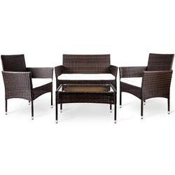 Latitude Run® Outdoor Garden Rattan Patio Lounge Chair Set Wicker/Rattan in Brown, Size 33.5 H x 35.4 W x 19.7 D in | Wayfair