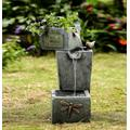Three Tier Cement Finish Outdoor Fountain With Planter- Jeco Wholesale FCL140