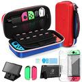 4-in-1 Carrying Case Kit for Nintendo Switch, Include Vendfine Nintend Switch Carrying Case/Switch Clear Protective Case Cover/Tempered Glass Screen Protector/Adjustable Holder Stand(Red/Blue)
