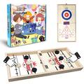 GleamyDot Fast Sling Puck Game,3 in 1 Table Desktop Battle Board Games,Large Size Foldable Wooden Ice Hockey Games,Winner Slingshot Games for Kids & Adults,Interactive Foosball Game Toys for Family