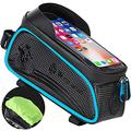 QIUQIAN Bicycle Bag, Reflective Bike Phone Front Frame Bag, Waterproof Top Tube Bike Bag, Bike Phone Mount Bag with Sensitive Touch Screen, Fit for 6.5 Inch Phone