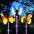 Solar Garden Lights 3pcs Solar Butterfly Outdoor Waterproof Lights Garden Decorative Lights Butterfly Decorative Lights Waterproof Multi-Color Changing Solar Powered LED Garden Lights
