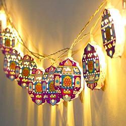 Star String Lights for Eid Decorations, Mubarak Ramadan Moon Star Lantern Lamp,10 LEDs Battery Operated Islamic Moon Lights String, Eid Ramadan Decorations for Outdoor Home ,Eid Lantern