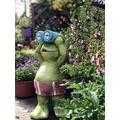 TEAYASON Solar Garden Frog Lawn Ornament Statue Led Light,Outdoor Art Decor Frog Figurine Animal Sculpture for Patio Yard Balcony Gift Home Green 43X22X20Cm(17X9X8Inch)
