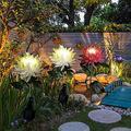 SKYWPOJU 3PC Outdoor Solar Chrysanthemum Light, Spring Artificial Chrysanthemum Solar Garden Stake Led, Solar Powered Flower Lights, Solar Powered Flowers State Light for Garden, Patio, Yard, Lawn