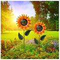 Metal Sunflower Garden Decor Decorative Garden Stakes Hand-Painted Multicolor Outdoor Metal Flower Garden Decorations Yard Art Stakes Outdoor Stake Flower Lawn Stake Ornaments (1PC, A)