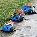 Metal Ladybug Flower Planter Garden Pot Cute Mini Planter Pot for Indoor or Outdoor Decorations (Blue)