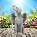 Dog Memorial Angel Pet Statue, Memorial Angel Pet Statue,Resin Angel Wing Protect Sleeping Dog Garden Memorial Stone Statue, Garden Yard Sculptures Desktop Statue Decor