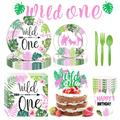 Fghium 114 Pcs Wild One Birthday Party Tableware Decoration Set, Jungle Birthday Party Tableware, Animals Party Supplies, Wild One Party Favors for Birthday Party, Baby Shower