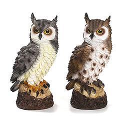 NGLSCXR Garden Statue owl Sculpture Resin Garden Owl Statue Fake owl Keeps Birds Away from Garden Protector Fairy Garden Resin Statue The Best Gift for Garden Decoration (Color : Brown)