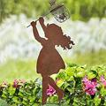 SIZHINAI Cute Silhouette Garden Yard Decor, Silhouette Yard Art Garden Metal Statue Decor, Hand Metal Sculpture Outdoor Decoration for Garden Yard Decor