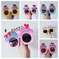 6 Pack Party Glasses Funky Fun Sunglasses Cake Candle Party Glasses Tropical Fancy Dress Party Photo Props Beach Party Sunglasses Novelty Party Supplies Decoration for Kids Adults