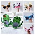 6 Pack Party Glasses Funky Fun Sunglasses Shark Cactus Party Glasses Tropical Fancy Dress Party Photo Props Beach Party Sunglasses Novelty Party Supplies Decoration for Kids Adults