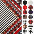 "David accessories 14pcs/Set 7.7"" x 12.9"" (20 cm x 33 cm) Plaid Stripe Pattern Faux Leather Sheets Mixed Synthetic Leather Sheets Bundles for Leather Earrings Bows Making (A)"