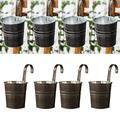 XINdream Hanging Planters Outdoor, 4 Pack Metal Hanging Planter Pots with Hook, Iron Hanging Bucket Planter Wall Planter Indoor/Outdoor for Railing Fence Balcony Garden Home Decoration