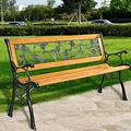 Patio Park Rose Aluminum Garden Bench, 50'' Outdoor PVC Rose Mesh Cast Iron Garden Bench with Hardwood Frame & Cast Iron Armrest, Outdoor Furniture Benches Clearance for Front Porch Yard Lawn Deck
