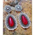Ella & Elly Women's Earrings Red - Red & Silvertone Ornate Floral Oval Drop Earrings