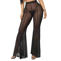 FairBeauty Women's Sexy Mesh Swimsuit Cover Ups Pants Solid Bikini Cover Up Solid Summer Long Pants