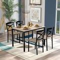 Latitude Run® 5-Piece Industrial Wooden Dining Set w/ Metal Frame & 4 Ergonomic Chairs, Oak Wood in Black/Brown, Size 30.0 H x 29.5 W x 45.5 D in