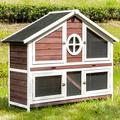 """Tucker Murphy™ Pet Rabbit Hutch Wood House Chicks Coop Pet Cage For Small Animals, Gray in Auburn/White, Size 22.6"""" L x 0 W x 43.3"""" H 