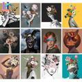 Peinture par numéros de fille de fleur, coloration artisanale populaire par numéros, Kits peints à