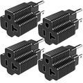 JACKYLED ETL Listed 15 Amp Household Plug to 20 Amp T-Blade NEMA Plug Adapter, 3 in 1 AC Power Converter, NEMA 5-15P to 1-15R, 5-15P to 5-15R, 5-15P to 5-20R, 15A 125V to 20A 125V, 4 Pack, Black