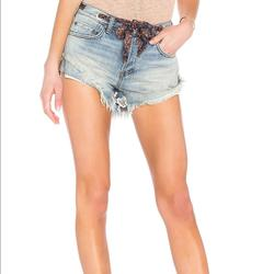Free People Shorts | Free People Sashed Relaxed Short In Blue | Color: Blue | Size: 26