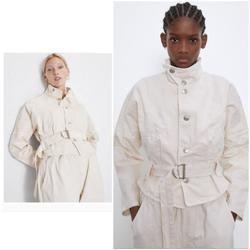 Zara Jackets & Coats   New Zara Cream Belted W Topstitching Denim Jacket   Color: Cream/White   Size: Xs