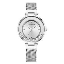 MINI FOCUS Women's Simple Mesh Strap Quartz Watches Top Brand Luxury Analog Wristwatch for Lady Fashion Business Girls Diamond Watch Silver