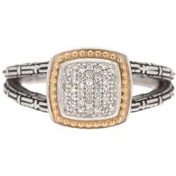925 Sterling Silver 18k Yellow Gold Diamond Ring - Metallic - Effy Rings