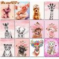 RUOPOTY – Kits de peinture par numéros d'animaux roses, 60x75cm, cadre de bricolage, cadeau Unique