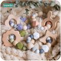 Bopoobo 1 pc bébé hochet hêtre lapin bois perles de dentition Silicone anneau de dentition Bracelets