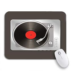 Gaming Mouse Pad Analogue Realistic Music Gramophone Vinyl Record Audio Circle Classic Nonslip Rubber Backing Computer Mousepad for Notebooks Mouse Mats