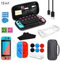 Carrying Case Compatible with Nintendo Switch Case Accessories Storage,15 in 1 Switch Travel Cover Case,Screen Protector,Protective Case,Game card Case,Joystick Cap,Grip Protective Case