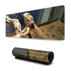 Bearded Dragon Large Mouse Pad Gaming XL Long Extended Mousepad with Non-Slip Rubber Base and Stitched Edges Mice Pads Desk Mat for Office Home