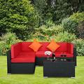 Goodline 5-Piece Patio Rattan Furniture Set Sectional Conversation Sofa w/Tea Table New Patio Furniture Outdoor Furniture Patio Furniture Patio Set Table Set