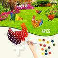 TopWoot 4PCS Metal Chicken Yard Art, Decorative Garden Stakes with 12 Colors Acrylic Paint Set for DIY Painting, for Outdoor, Lawn, Backyard Ornaments (4PCS-ABCD)