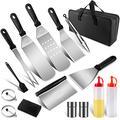 WLDQ Grill Spatula Grill Cutlery Set, Professional BBQ Tool Set Grill Spatula Idea for Outdoor Grilling, Teppanyaki and Camping