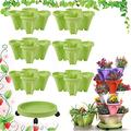 CHAOMIC Stackable Garden,Stand Stacking Planters Strawberry Planting Pots,Vegetable Melon Fruit Planting Pot Tower Garden Growing System Indoor Outdoor Vertical Garden Planter (Green 6 Layer)