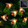 AdoDecor Solar Light String Light 10M 50 LED Solar String Honey Bee Shape Warm Light Garden Decoration Creative Tree Haning Lights