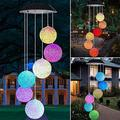 Round LED Color-Changing Power Solar Wind Chimes Yard Home Garden Decor Garden Decoration Chimes Home Decor Clearance Outdoor décor Home Decor Garden Decor Wind Chimes for Outside