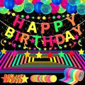 Glow Party Neon Party Supplies Includes 6 UV Blacklight Reactive Tape Luminous Tapes Neon Paper Garland Happy Birthday banner 10 Hanging Swirls, 25 Fluorescent Balloons for Birthday Party Decorations